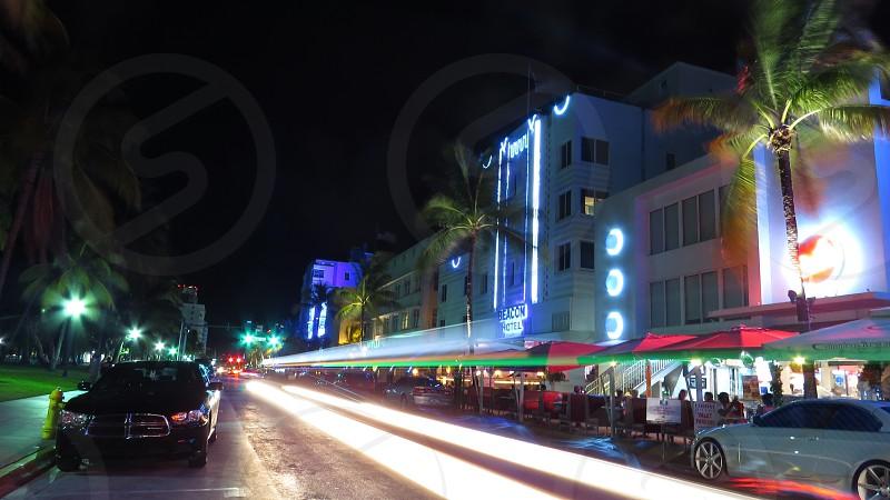 Ocean Drive Miami Florida USA Night Shot Cars Street  photo
