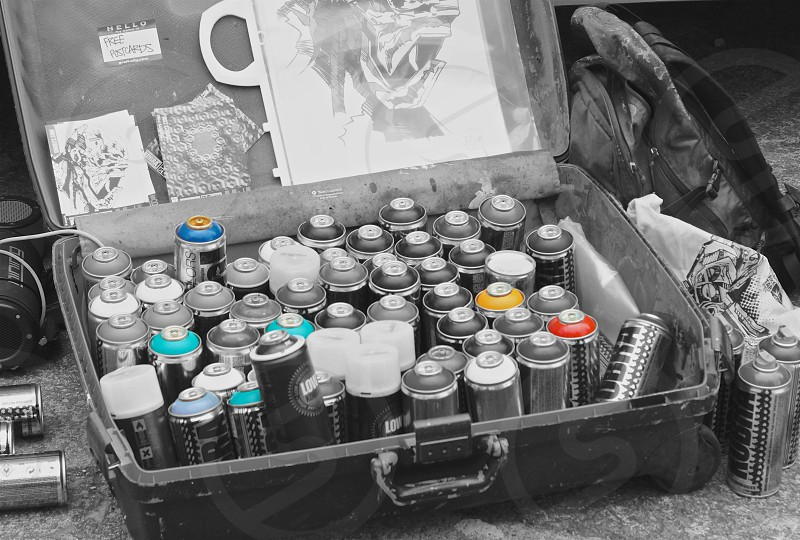 Photo of Graffiti artist cans color wash edit photo