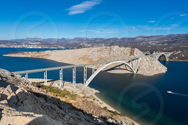 Krk bridge connecting mainland with Krk island-primorje -gorski kotar county photo