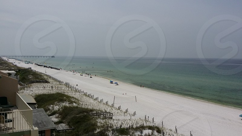 Cloudy day at the beach photo