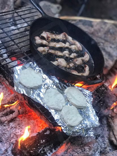 Circlecircles camping biscuits bacon fire campfire  photo