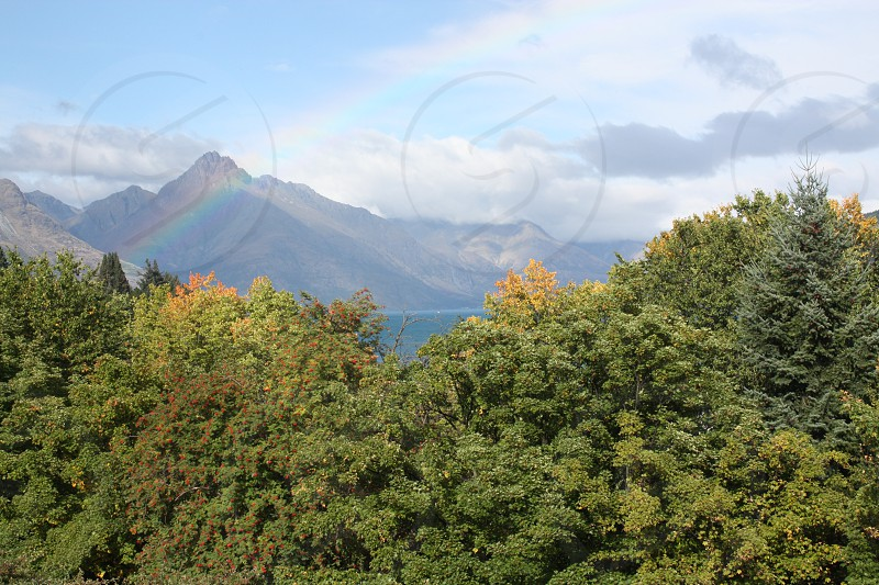 Rainbow over The Remarkables Queenstown New Zealand photo