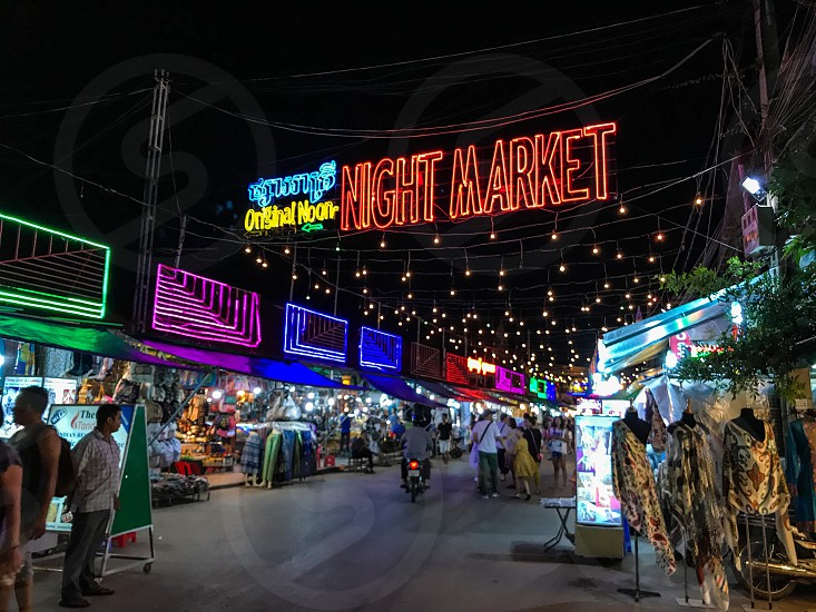 Outdoor night colour landscape horizontal Night Market Seam Reap Cambodia lights string lights fairy lights illumination glow colourful lighting stalls travel travelling tourism tourist wanderlust summer commerce trading shopping shoppers retail photo