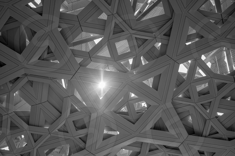 The bird nest roof structure of the Louvre in Abu Dhabi photo