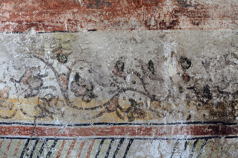 Wall details from an old Orthodox church some faded frescoes from 12th century.  photo
