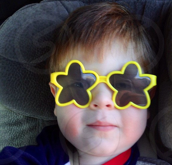Charlie wearing funny sunglasses photo