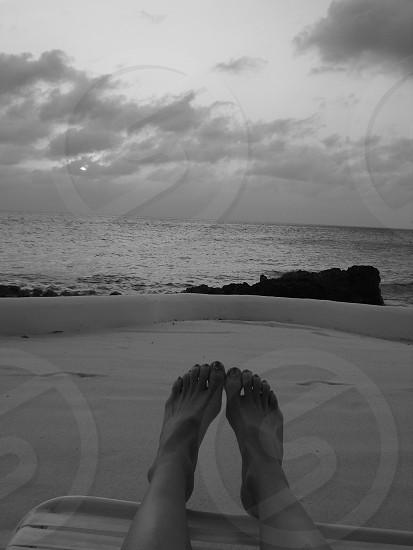 B&W Feet and Beach photo