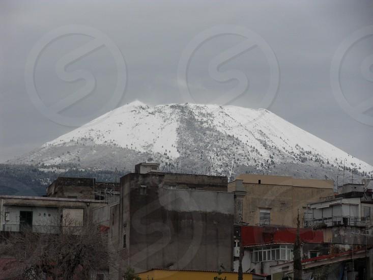 Snow capped Vesuvius photo