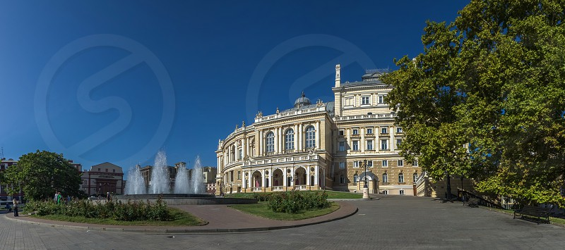 Odessa Ukraine - 09.03.2018. National Academic Theater of Opera and Ballet in Ukraine. Panoramic view in a summer morning photo