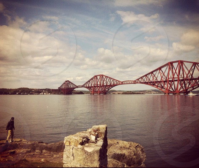 Forth Bridge South Queensferry Edinburgh.  photo