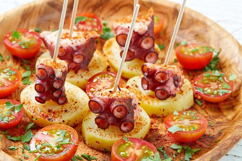Galician Octopus a la Gallega tapas pinchos recipe from Spain with potatoes photo