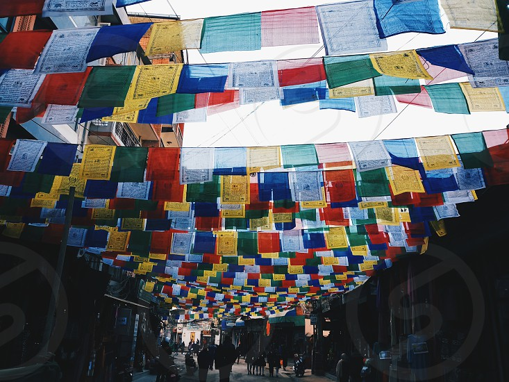 Buddhist prayer flags in the streets of Thamel Kathmandu (Nepal). photo
