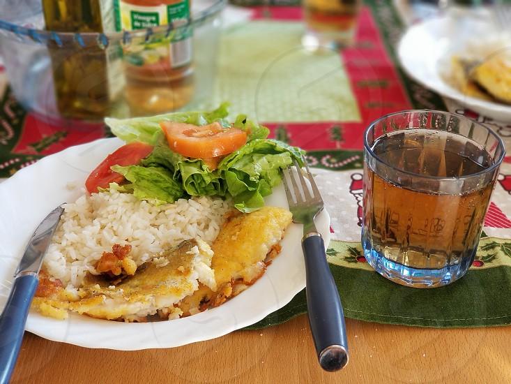 #foodie #fish #salad #guarana photo