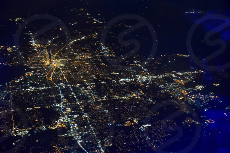 City lights from a plane photo