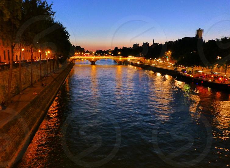 Beautiful Seine River Paris France Evening Night photo