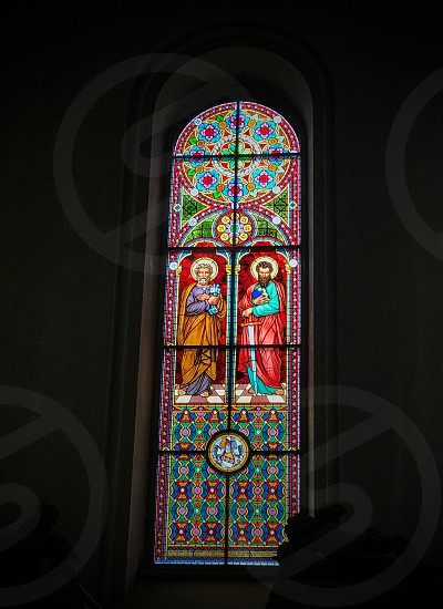 Indoor day colour vertical portrait Riga Latvia Europe European travel tourism tourist church art glass stained Glass colourful religion Christian Christianity holy history historic window arch photo