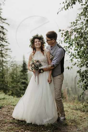 Wedding day in the forest photo