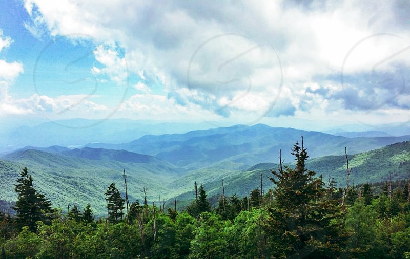 Smoky Mountains; Appalachian Mountains; Tennessee; Travel; Explore; tourist; hiking; landscape; nature; cloudy; trees photo