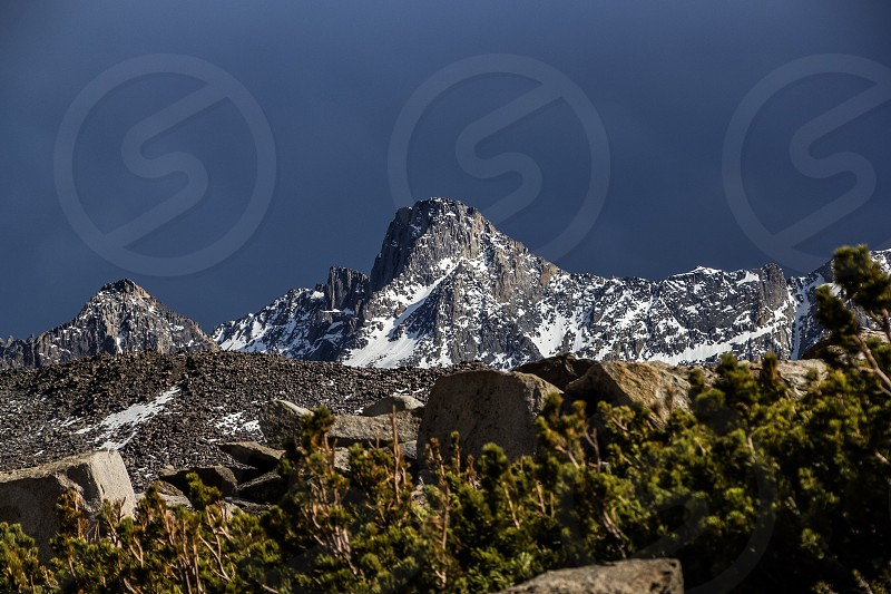 snowy mountain surrounded by trees photo