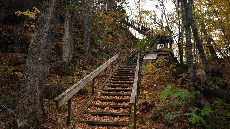 A staircase leading up to a cliff and lookout photo