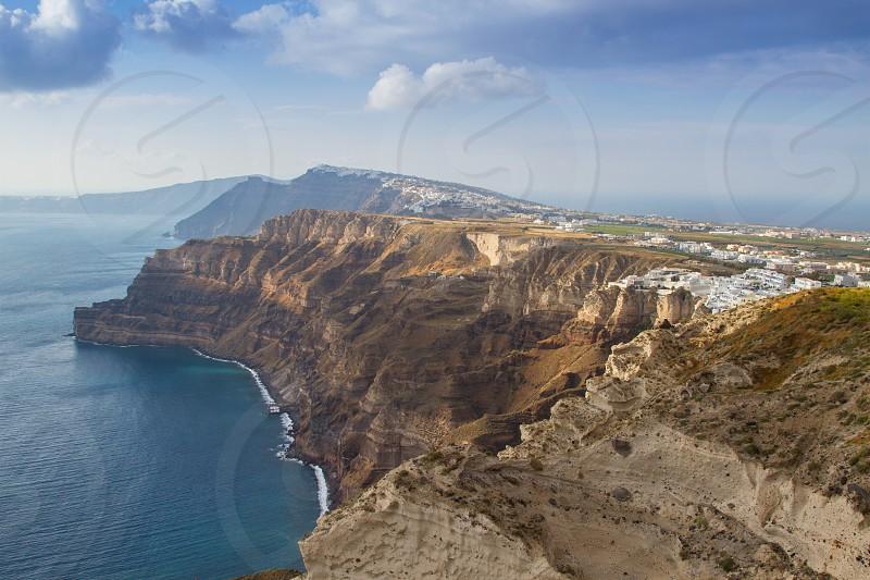 Cliffs of Santorini Greece photo