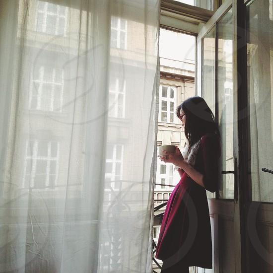Drinking tea on the balcony in Prague. photo
