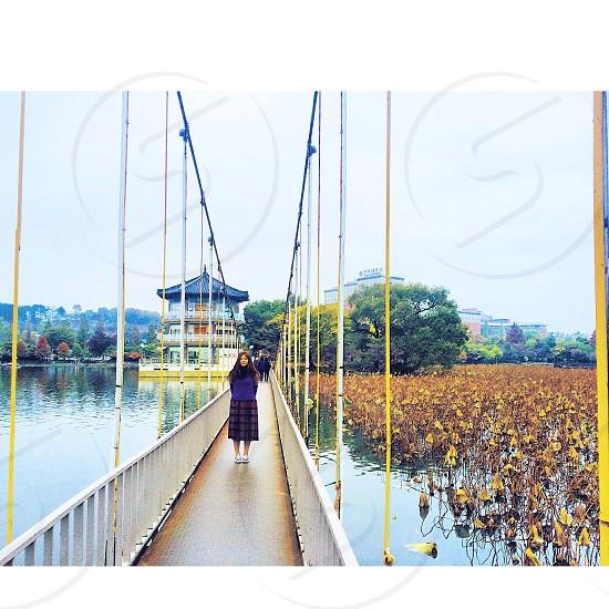 woman standing on bridge on lake with plants photo