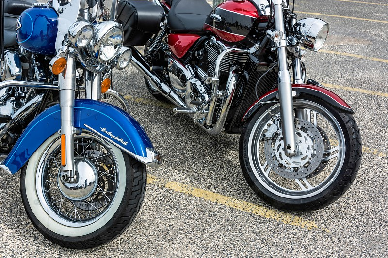 Close-up of Two Motorcycles Parked in Whitstable photo