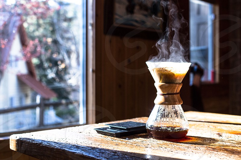 coffee chemex cabin steam smoke wood window window light third wave coffee scale hipster pour over photo