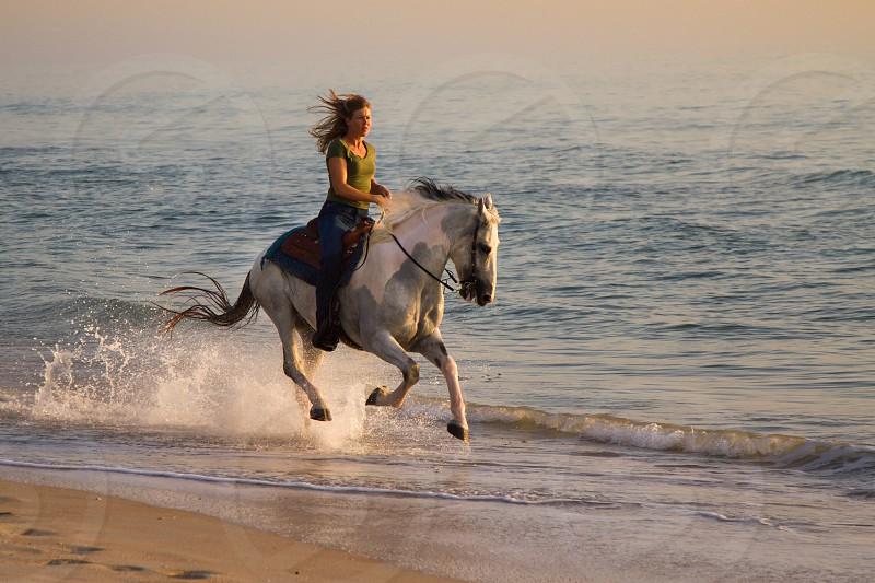 Woman on horseback at the beach photo