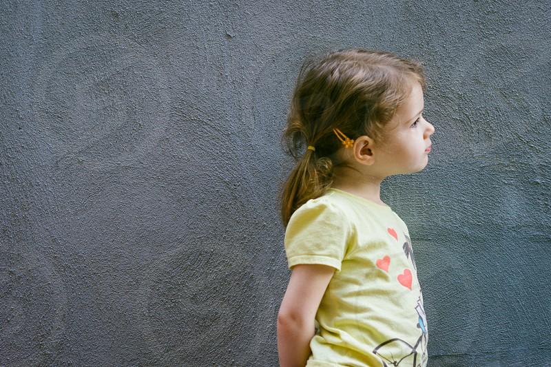 girl's yellow puff sleeve tshirt with heart design photo