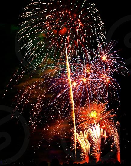 'Fireworks over city' (10)  Fireworks Fireworks over city New Year City Sparkling Shinning Colorful Night view Vertically long Longitudinally long photo