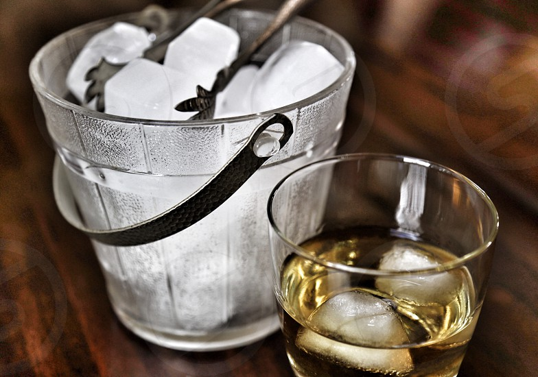 Scotch on the Rocks with Vintage Ice Bucket photo