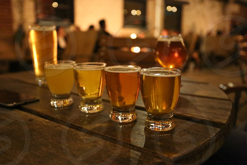 Beer glasses just delivered at a pub party  photo