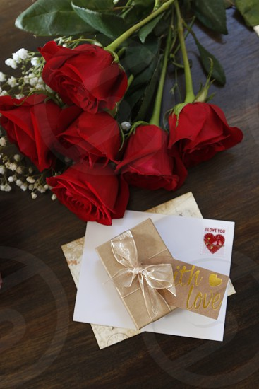 overhead of valentines gift and card and roses photo