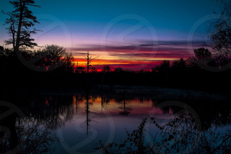 pond sunset photo photo