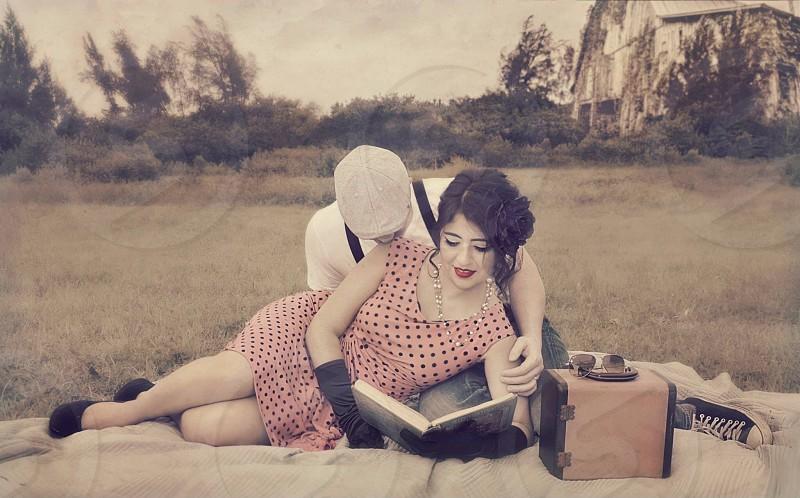 couple enjoying a picnic photo