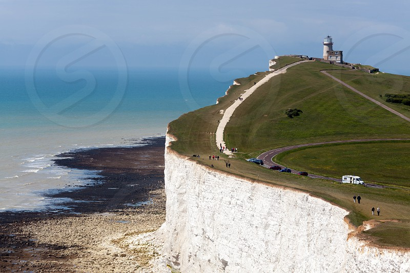 BEACHEY HEAD SUSSEX/UK - MAY 11 :  The Belle Toute Lighthouse at Beachey Head in Sussex on May 11 2011. Unidentified people. photo