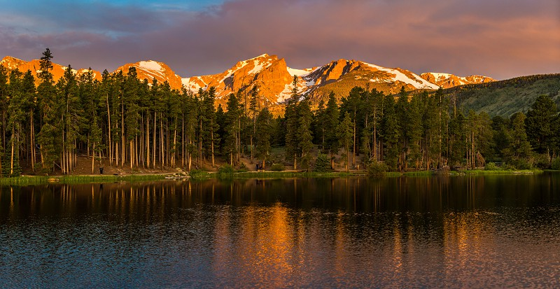 Sunrise at the Sprague Lake in the Rocky Mountain Nationalpark photo
