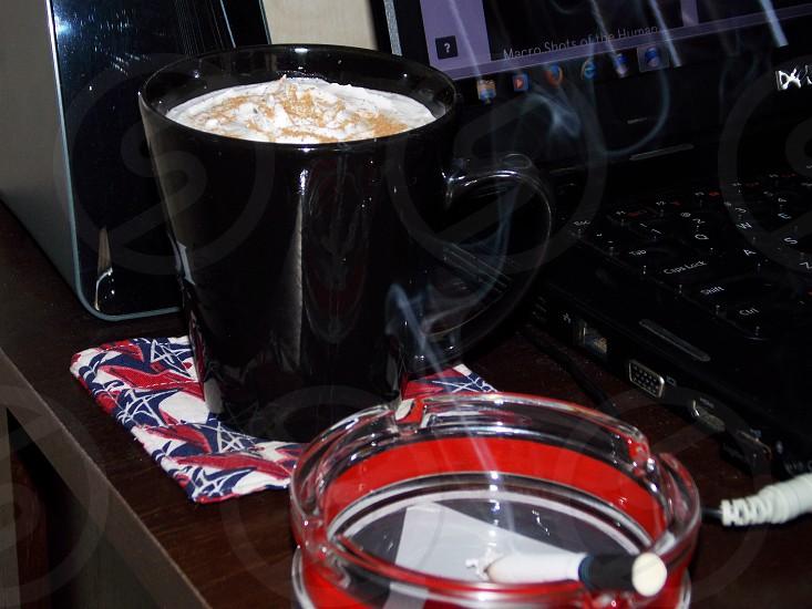 Coffee cigarette black red white photo