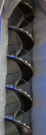 beige spiral stairs photo