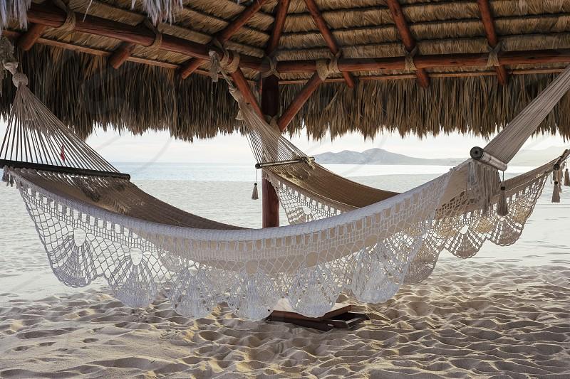 Peaceful beach setting in tropical paradise.  photo