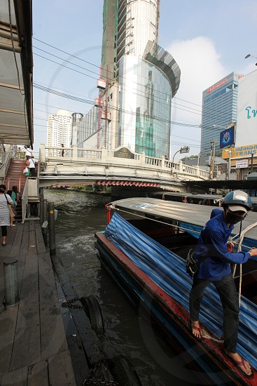 a Taxi Transport Boat on the Khlong Saen Saeb in the city centre at the pratunam aerea in the city of Bangkok in Thailand in Suedostasien. photo