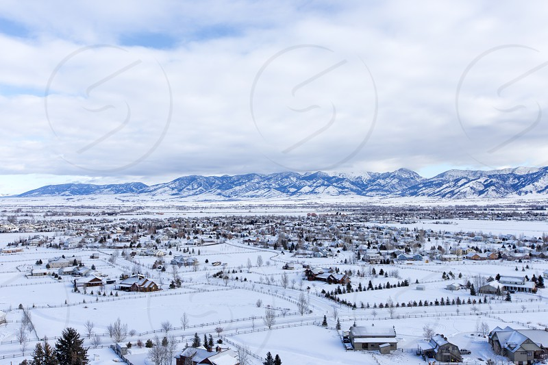 An aerial view of northern Bozeman from a hot air balloon in winter. photo