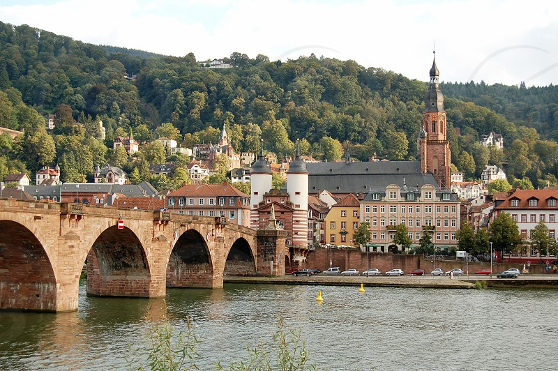 Cityscape of Heidelberg at Neckar river (Baden-Württemberg Germany) with its old bridge over the river. photo