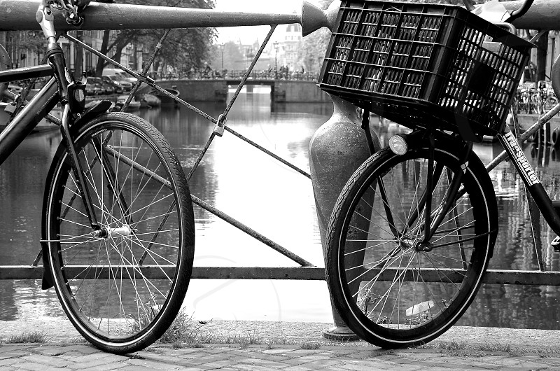 B&W Amsterdam Canal Bicycle photo
