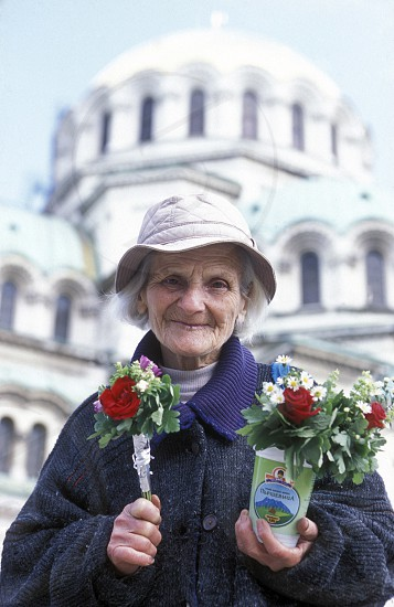 a women sales flowers at the Nevski church in the city of Sofia in Bulgaria in east Europe. photo