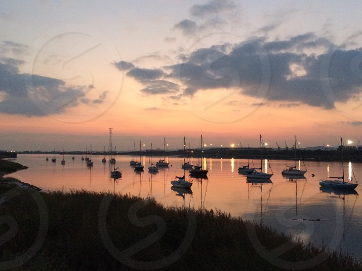 Sunset over Newport Uskmouth Sailing Club photo