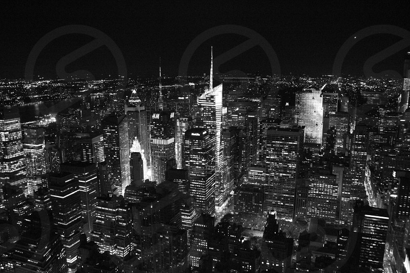 grayscale photo of city with skyscrapers photo