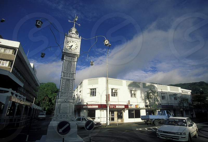 the clock tower in the city of Victoriaon the Island Mahe of the seychelles islands in the indian ocean photo
